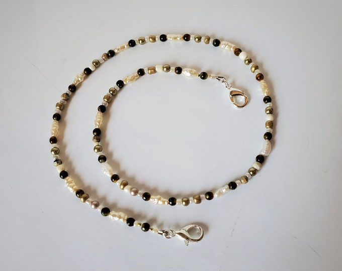 Beige, Gold and Brown Neutral Toned Face Mask Leash that Converts to a Necklace -  Rice Pearls, Tigers Eye and More Beaded Face Mask Lanyard