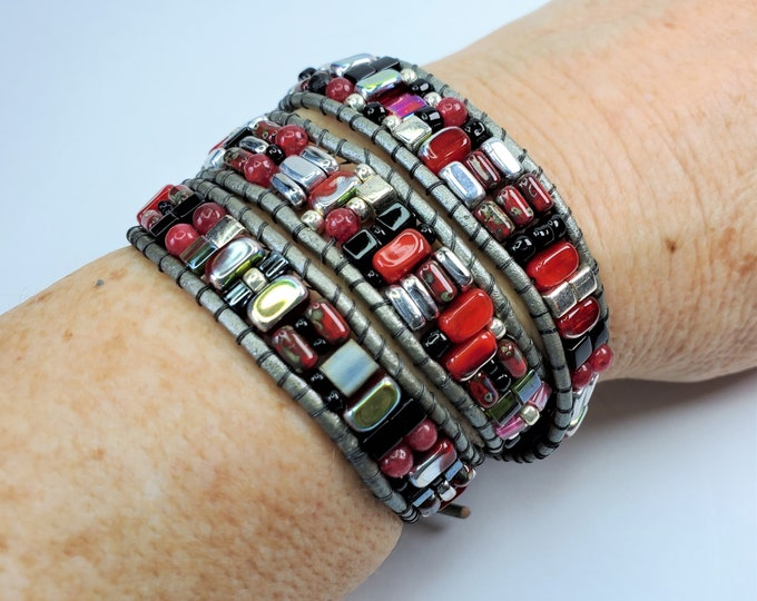 Red, Black and Silver Triple Wrap Bracelet with Vintage Czech Glass Beads - Silver Leather Triple Wrap Bracelet