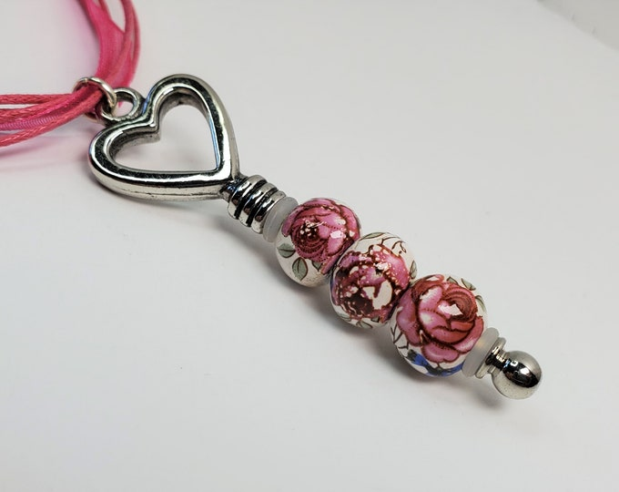 Sweetheart Ceramic Beaded Key Style Pendant on Rosy Pink Ribbons with Extender Chain - Rose Pattern on Beads