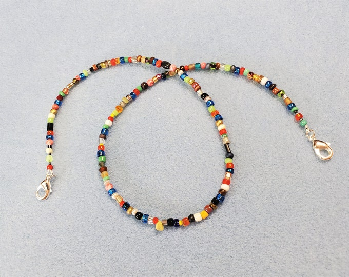Beaded Face Mask Leash Converts to Necklace - Multi Colored Beaded Face Mask Lanyard Converts to Necklace - With Silver Plated Connectors