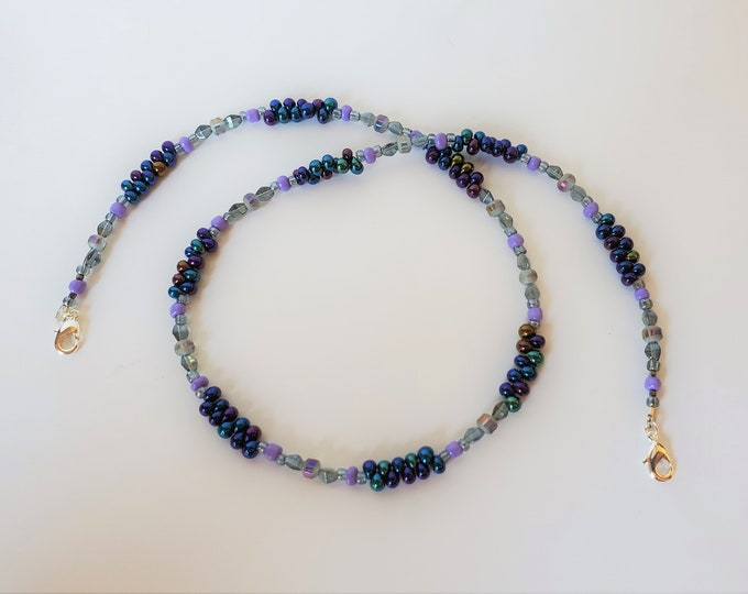Beaded Face Mask Leash With Purple Teardrop Beads, Crystals and More - Beaded Face Mask Strap Converts to Necklace
