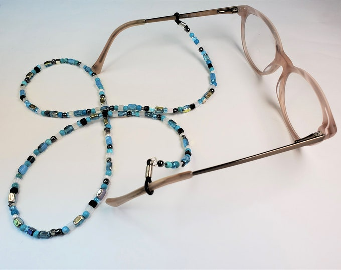 Eyeglass Leash with Turquoise and Hematite - Aqua, Silver, Black and White Eyeglass Leash - Subtle Pizzazz Leash/Lanyard