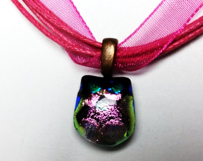Tiny Dichroic Owl Pendant with Blue Metallic Eyes and Reflective Body on Pink Ribbon Necklace