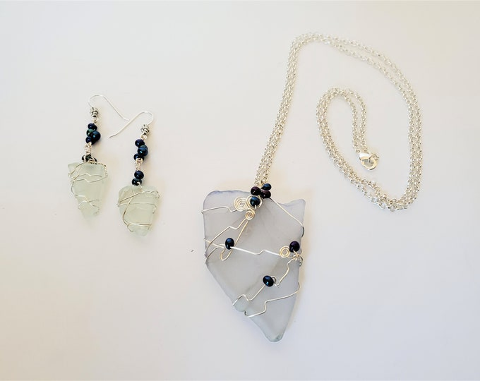 Nevada Shaped Beach Glass Pendant and Earrings Set - Transparent Flat Beach Glass Earrings & Pendant Wire Wrapped Set
