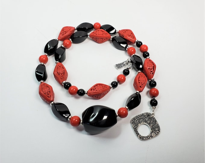 Red Cinnabar Beads with Twisted Faceted Black Onyx Beads in Necklace and Earrings Set - Red and Black Necklace and Earrings