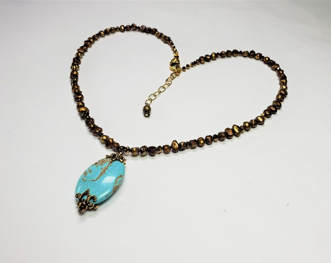 Tantalizing Turquoise Pendant on Gold Pearl and Crystal Strand - Sparkle and Luster in Turquoise w/Golden Pearl & Crystal Accent Necklace