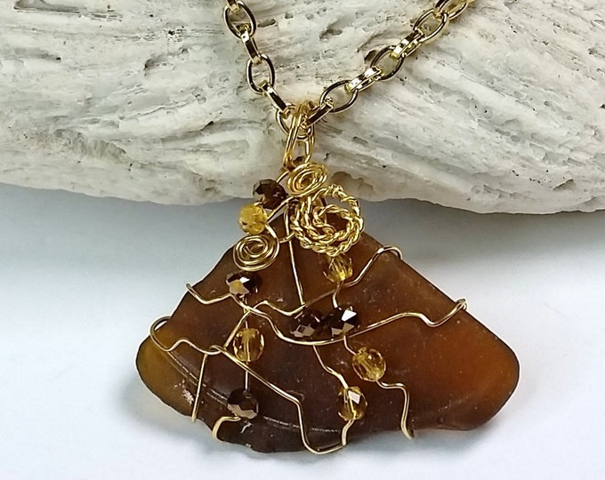 Mocha Beach Glass Pendant Necklace - Wire Wrapped Brown Sea Glass Pendant with Gold Tone Trim