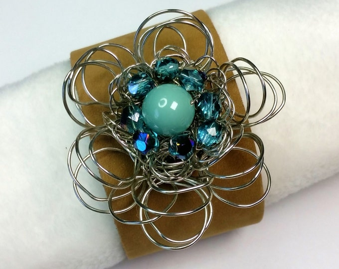 Tan Leather Cuff with Silvery Wire Flower with Aqua Sparkling Center- Adjustable Leather Cuff - Turquoise