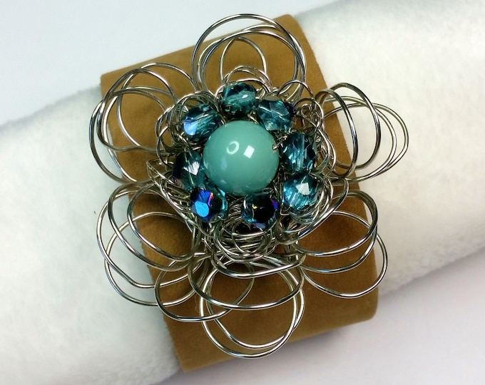 Flower - Wire Flower - Leather Cuff - Adjustable Leather Cuff - Turquoise - Adjustable Bracelet