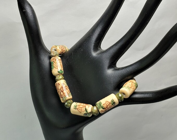 Painted Asian Ceramic Beads with Earthy Unikite Stretch Bracelet - Adorable Stretch Bracelet To Wear Any Time