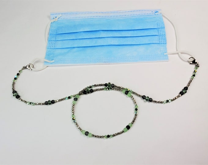 Light Green and Silver Facemask Leash with Sparkling Crystals & Frosted Glass - Leash/Lanyard for Facemask Converts to Necklace or Bracelet