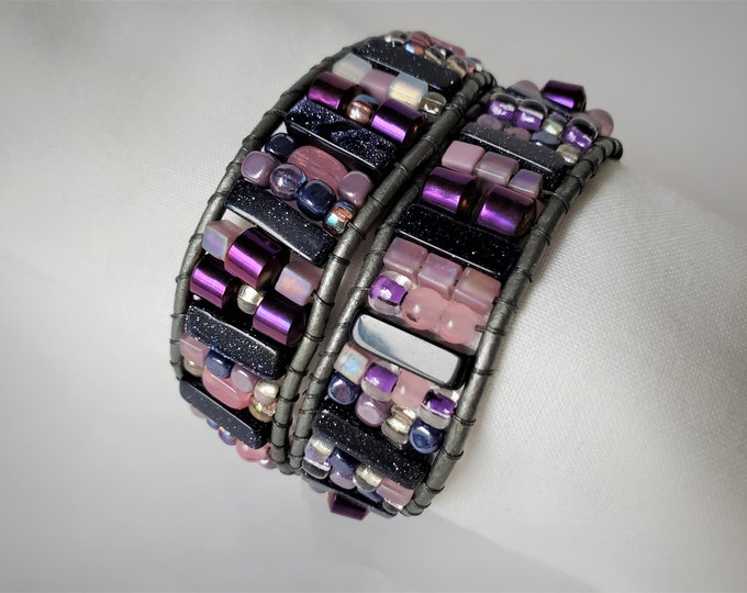 Purple and Pink Extra Wide Double Wrap Bracelet w Adjustable Length - Sparkling Blue Goldstone, Pretty Pink & Purple Beads w/Silver Leather