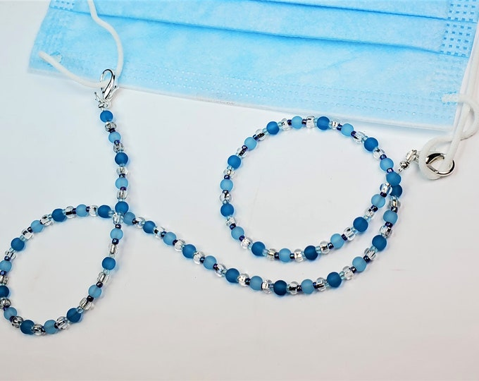Two Shades of Aqua Facemask Leash that Converts to Necklace