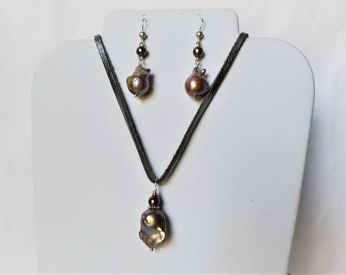 Baroque Pearl Pendant on Silver Leather with Pearl Double Drop Earrings - Pearl on Adjustable Length Leather w/Matching Pearl Earrings