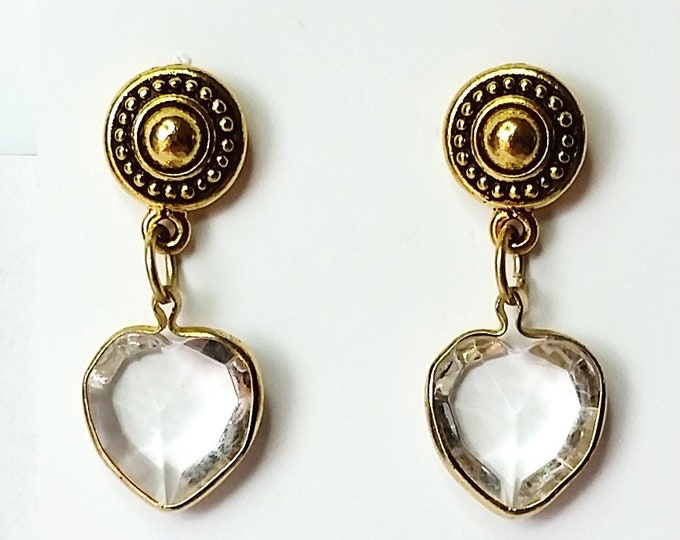 Quartz Heart Shape Earrings - Faceted Clear Quartz Crystal Heart w/Antique Golden Bezel & Hypoallergenic Posts Earrings
