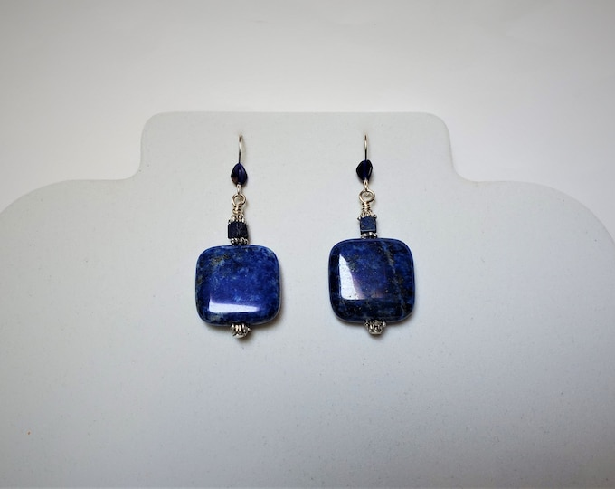 Lapis Lazuli Earrings Suspended from Sterling Silver Ear Wires - Subtle Beauty in these True Blue Semiprecious Lapis Earrings