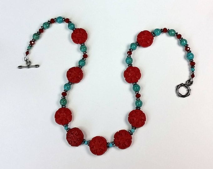 Cinnabar and Turquoise Necklace - Cinnabar Jewelry - Red with Turquoise Jewelry - Southwest Jewelry - Asian Jewelry - Valentine Jewelry