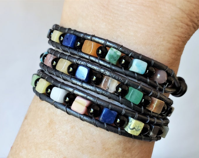 Gemstone Triple Wrap Bracelet with Variety of Cube Shaped Gemstones Alternating with Round Black Onyx Beads, Metallic Gray Leather