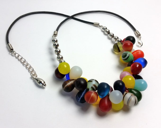 Glass Teardrops in a Rainbow of Bright Color Original Necklace - African Wedding Bead Necklace has Leather Cord and Extender Chain