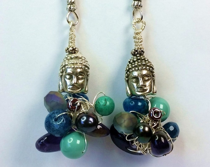 Buddha Bead Bundle Wire Crocheted and Woven Earrings with Amethyst, Apatite and Pearl