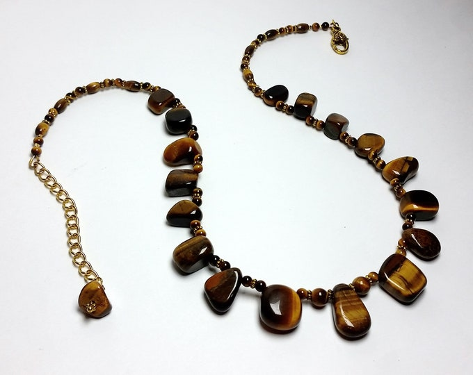 Tigers Eye Necklace and Earrings - Light Plays, Silky Luster, Tiger Eye Brown & Gold Jewelry - Adjustable Length Set in Autumn Tones