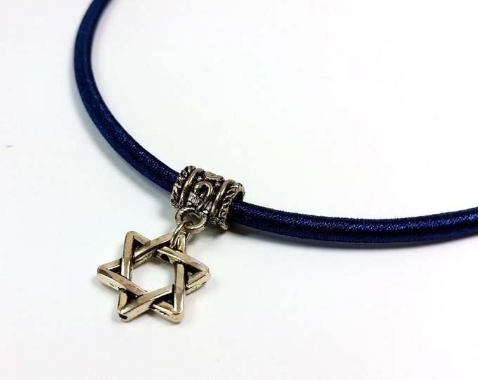 Silvery Star of David on Azure Ocean Blue Cord with Extender Chain - Hexagram Star Charm Pendant, Adjustable Length - Jewish Star
