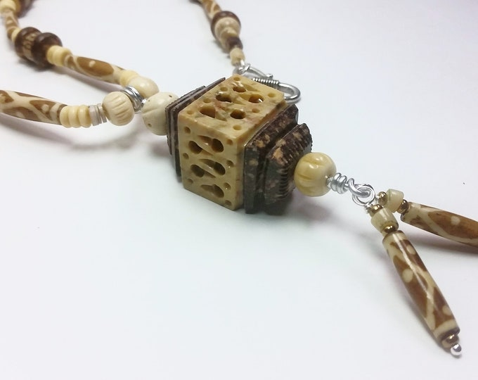 Asian Style Carved Stone Birdhouse Pendant with Water Buffalo Beads - Carved Stone and Bone Earthy Neutral Toned Necklace Set