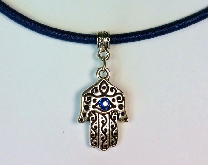 Two-Sided Silvery Hamsa Amulet with Blue Crystal Eye on Blue Choker Cord with Extender Chain