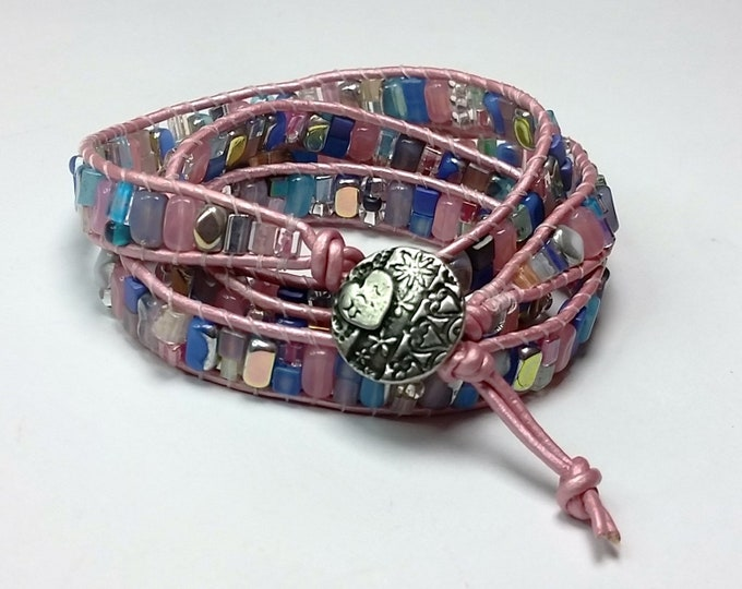 Sweet Confections Pastel Leather Wrap Bracelet - Quadruple Leather Wrap Bracelet with Yummy Candy Colored Beads and Heart Motif Button Clasp
