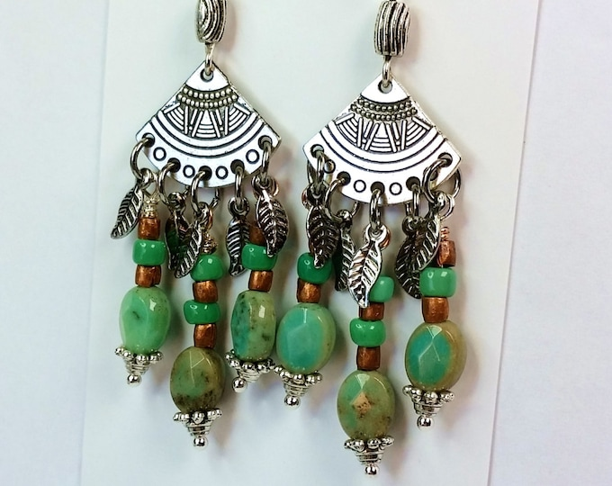 Silver Fandango Chandelier Earrings - Earrings with Silver Feather Dangles and Turquoise and Copper Beads