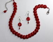 Cherry Red Magnesite Necklace and Earrings Set - Adjustable Length Red Necklace and Earrings Set - Overlapping CoinShape Beaded Necklace Set