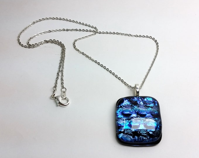 Dynamic Dichroic Layered Glass, Dark Blue-Violet, Puffy Rectangular Pendant w/Silvery Bail and Chain - Sparkling Dark Blue Pendant w/Chain