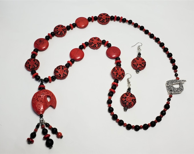Red and Black Necklace and Earrings - Red Cinnabar & Coral with Black Lava Beads Pendant Necklace Set