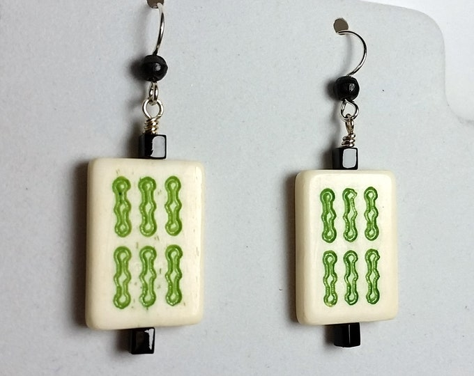 Mahjong Tile Earrings - Bone Mahjong Earrings with Green Six Bam