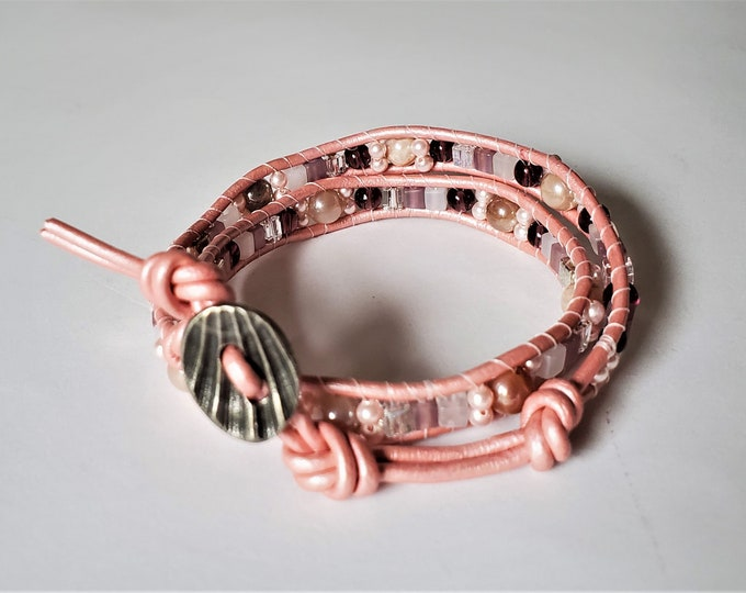 Dreamy Pink Moonstone Double Wrap Leather and Bead Bracelet with a touch of Garnet - Adjustable Length Pink Leather Wrap Bracelet