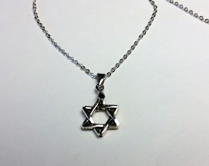 Star of David on Delicate Silvery Chain - Adjustable Length Jewish Star Necklace - Hexagram Pendant