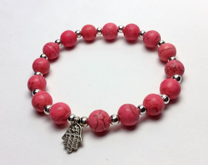 Stack-able Pretty Pink Howlite Stretch Bracelet with Cute Tiny Protective Hamsa Charm