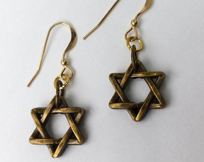 Antique Gold Tone Star of David Earrings on Gold Fill Ear Wires - Six Pointed Star Earrings - Judaica Jewelry - Talisman