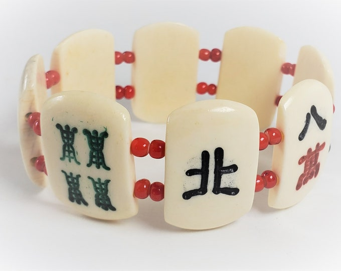 Mahjong Stretch Bracelet - Mah Jongg Bracelet with Bone Tiles, Red, Green and Black and Green Characters