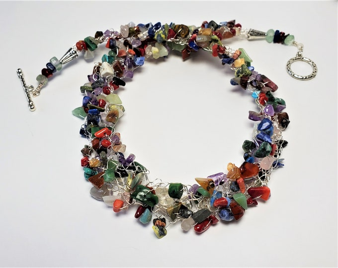 Rainbow Colored Wire Crocheted Necklace with Polished Gem Chips - Multi-Colored Natural Gems Crocheted into a Necklace with Toggle Clasp