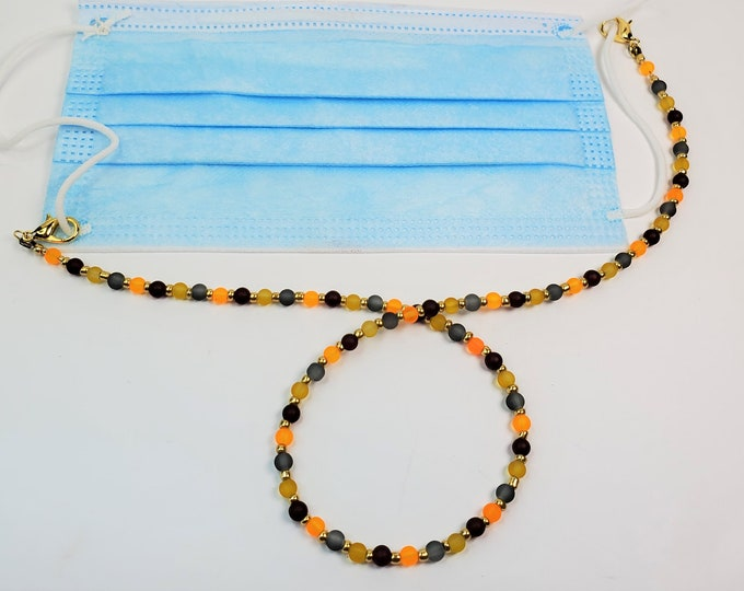 Autumn Toned Matte Finished Glass Beads Alternate with Golden Seed Beads Facemask Leash/Lanyard that Converts to Necklace