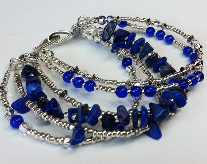 Lapis Bracelet with Six Strands - Multi Strand Bracelet with Lapis and Silver Beads -