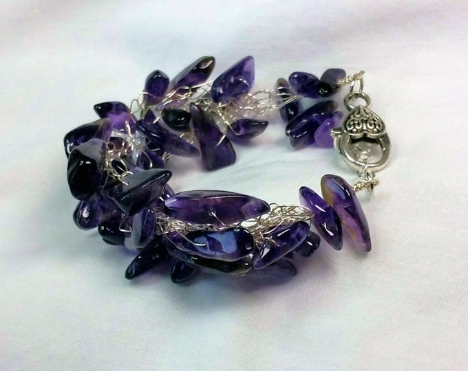 Rich Purple Amethyst Dagger Bead Wire Crocheted Bracelet - Adjustable Length Gemstone Bracelet with Amethysts