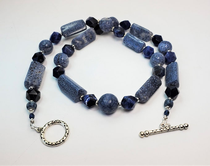 Blissful Blue Coral With Denim Blue Sodalite Beads Necklace and Earrings Set - Natural Ocean Blue Coral Necklace and Earrings