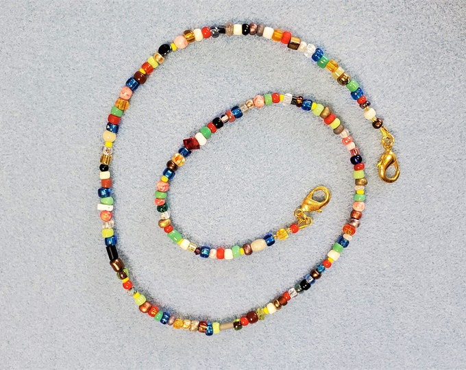 Beaded Face Mask Leash Converts to Multi Colors Necklace - Rainbow Colors Beaded Face Mask Lanyard Converts to Colorful Jewelry