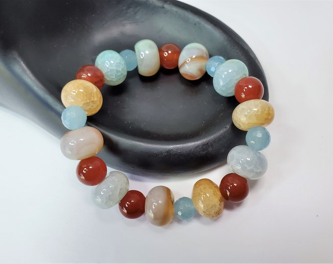 Earthy Agate, Carnelian and Aquamarine Stretch Bracelet - Natural Semiprecious Round and Rondelle Stone Bead Stretch Bracelet