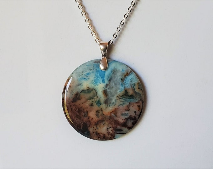 Amazing Turquoise and Mocha Brown Agate Coin Shape Pendant on Silver Plated Chain - Beautiful Swirling Pattern Agate in Aqua and Brown