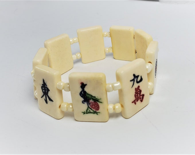 Mahjong Stretch Bracelet - Mah Jongg Bracelet with Bone Tiles, Red, Green and Black Characters - Rectangular Smaller Mahjong Tiles Jewelry