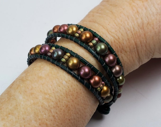 Bronze Luster Czechmates Double Wrap Bracelet on Forest Green Leather