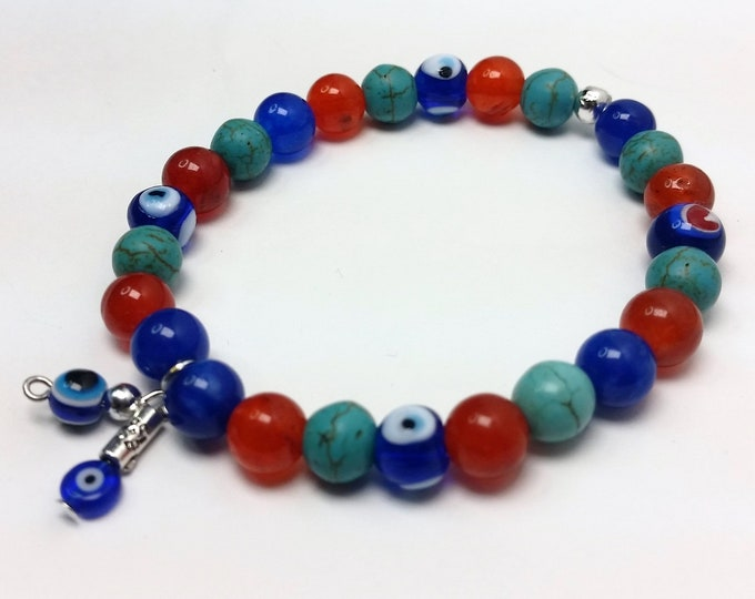 Stack-able  Stretch Bracelet of Turquoise, Cobalt Blue and Blood Orange w/Evil Eye Beads - Colorful Sephartic Colors Bracelet